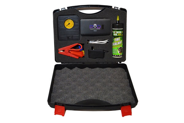 pod etrack emergency tire repair and air compressor kit