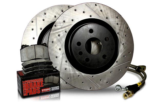 stoptech sport brake kit with drilled and slotted rotors