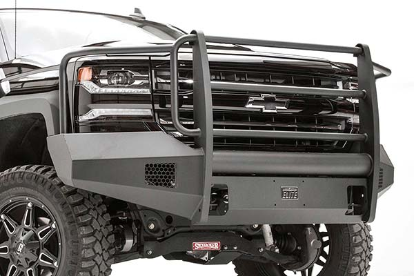 fab fours black steel elite front bumper hero