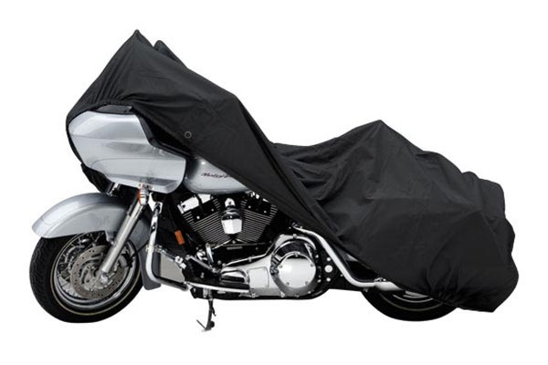 Covercraft Custom Pack Lite Harley Davidson Motorcycle Covers XN157PB Cruiser with saddle bag and windshield