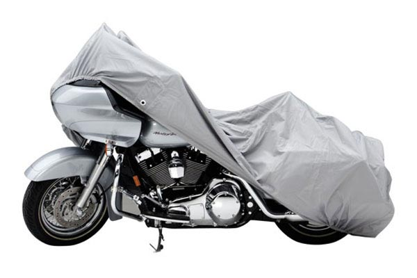 Covercraft Custom Pack Lite Harley Davidson Motorcycle Covers XN157PG Cruiser with saddle bag and windshield