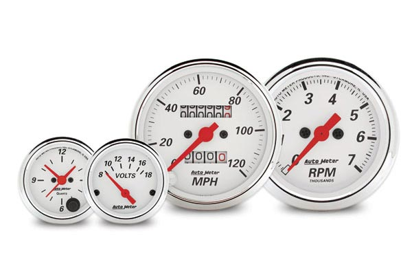 autometer street rod arctic white gauges