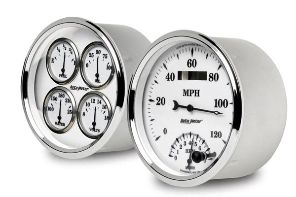 autometer street rod old tyme white II gauges