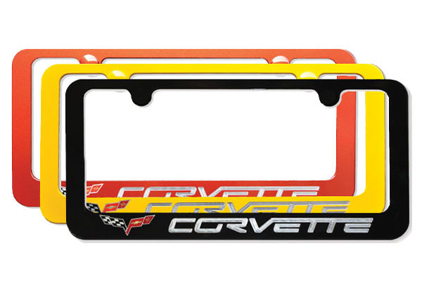 elite corvette paint matched license plate frames