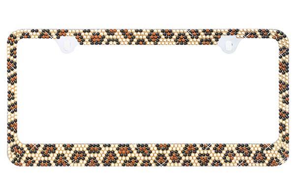 proz leopard bling license plate frame hero