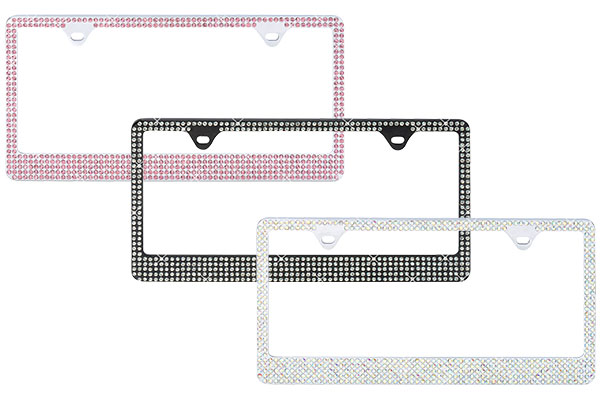 ProZ Premium 5 Row Rhinestone License Plate Frame - 2 Hole Mount