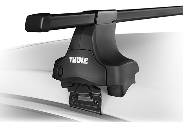 thule system square bar base rack system mounting close up for naked roofs