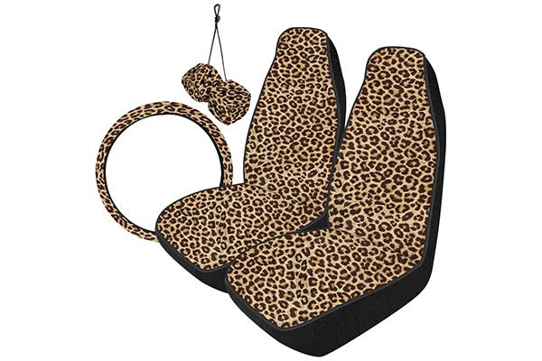 Saddleman Leopard Seat Covers W Steering Wheel Cover