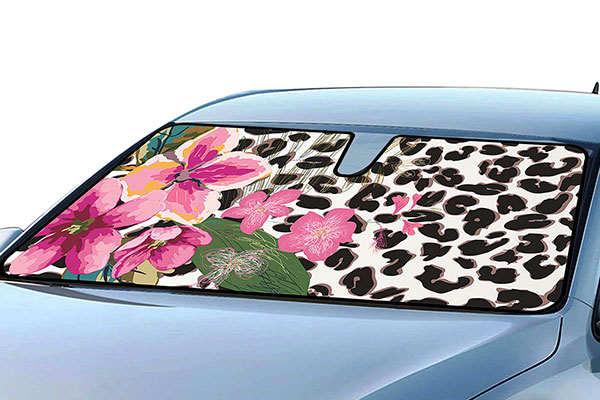 leopard floral windshield sun shade