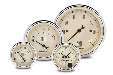 Chevy Camaro AutoMeter Street Rod Antique Beige Gauges