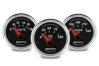 GMC Sierra AutoMeter Street Rod Designer Black II Gauges