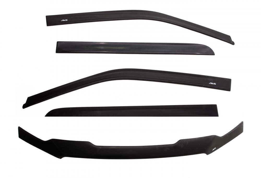 avs matte black deflector combo kit kit