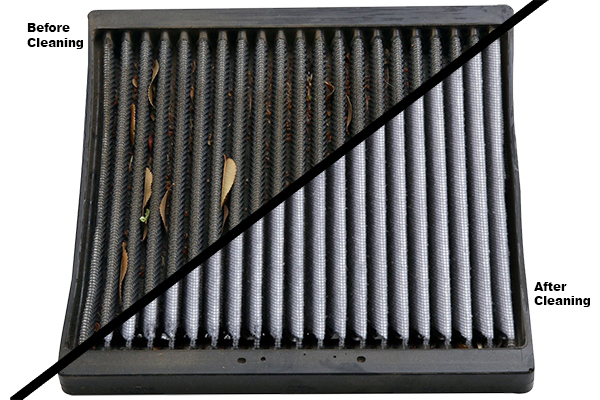 dirty clean cabin filter
