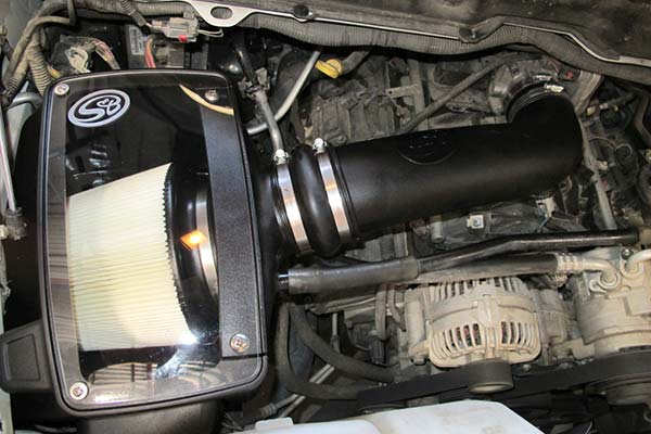 s&b intake with dry filter installed in engine bay