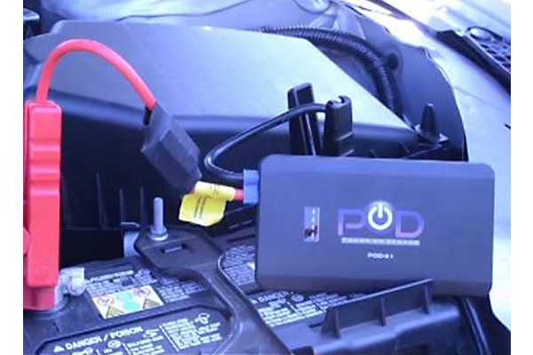 pod x1 jump pack portable jump starter in use
