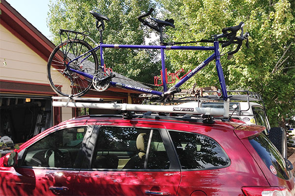 6251 rockymounts tandem mount bike rack with bike