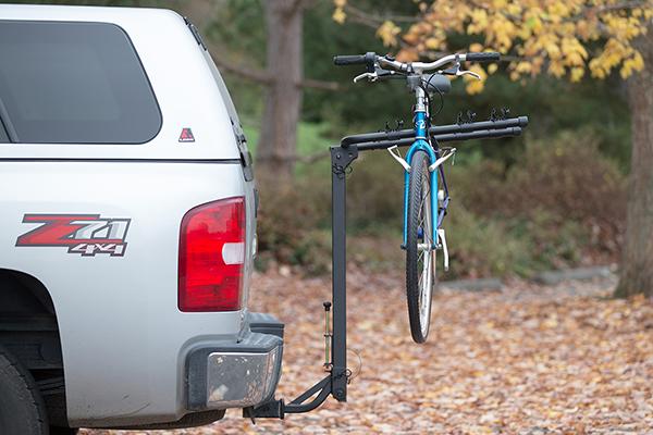 advantage sportsrack tiltaway hitch mount bike rack in use