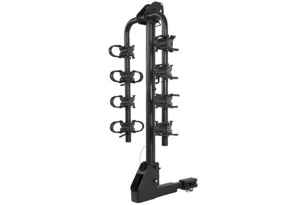 curt extendable hitch mounted bike rack folded
