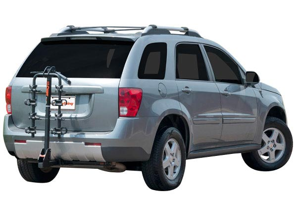 curt extendable hitch mounted bike rack installed