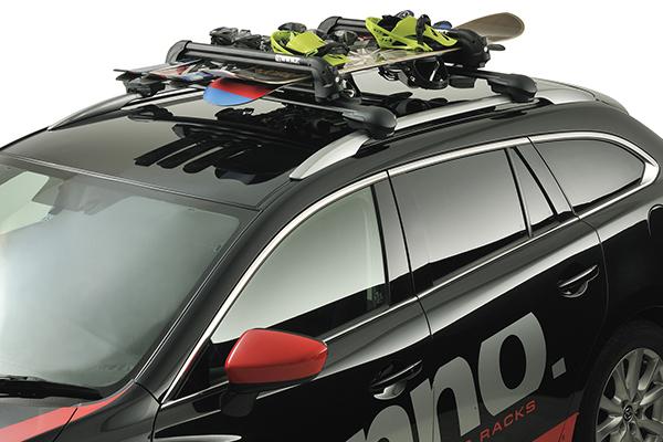 inno t slot gravity ski and snowboard rack for aero base installed