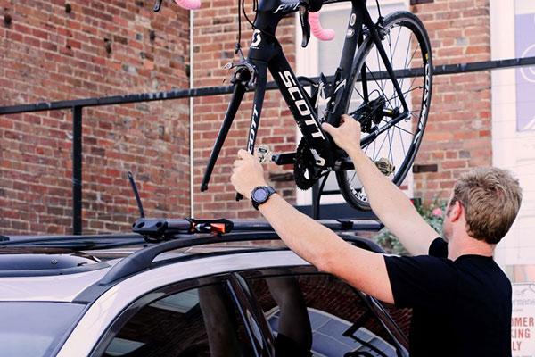 kuat trio fork mount roof bike rack installed