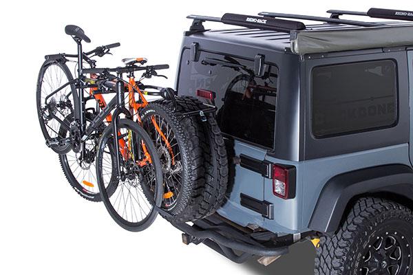rhino rack spare wheel bike rack installed