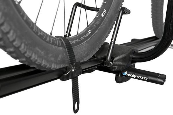 rocky mounts tomahawk roof bike rack wheel strap closeup
