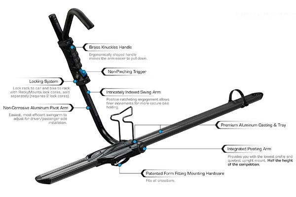 rockymounts brassknuckles roof bike rack details