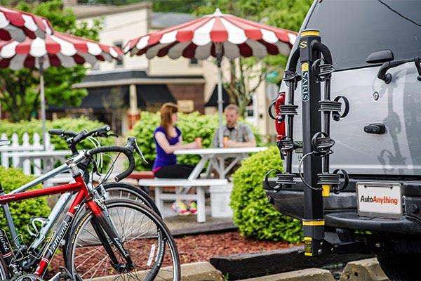 saris bike porter hitch mount bike rack folded