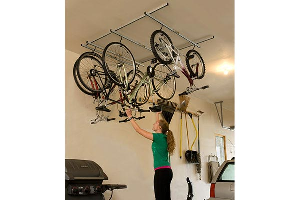 saris cycle glide ceiling mount bike storage in use