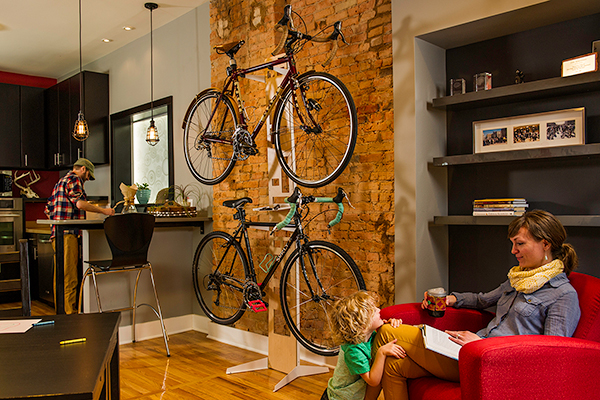 saris the hottie bike floor storage rack dinning room installed
