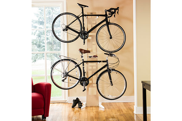 saris the hottie bike floor storage rack two bikes in living room