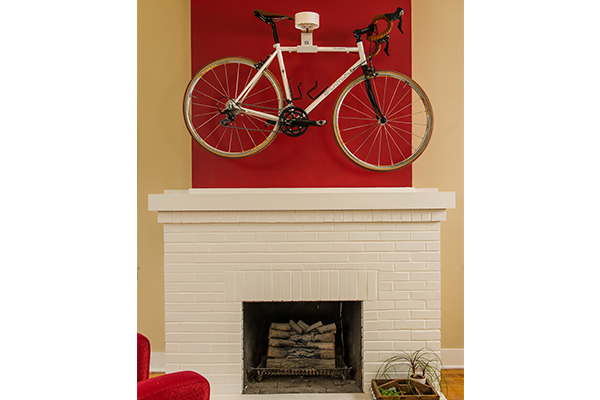 saris the show off bike wall storage rack installed mantle