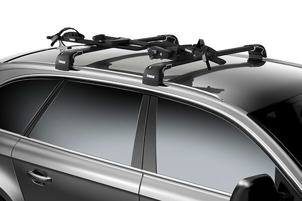 thule proride roof mount bike rack installed