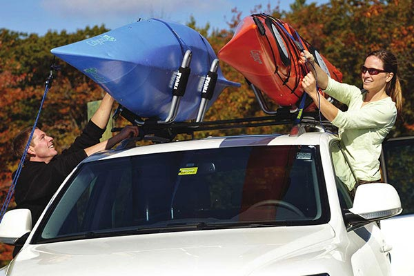 thule base rack with kayaks loaded