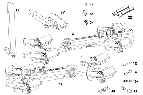 yakima fourtimer hitch mount bike rack  pieces