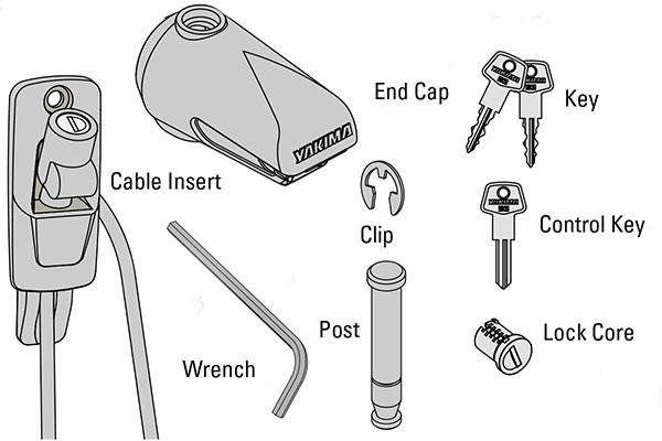 yakima handcuff cable bike lock pieces