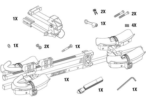 yakima twotimer hitch mount bike rack pieces