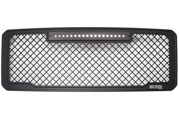 putco boss mesh grilles off vehicle with lights