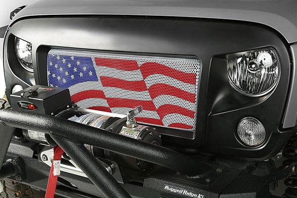 rugged ridge spartan grille insert flag lifestyle