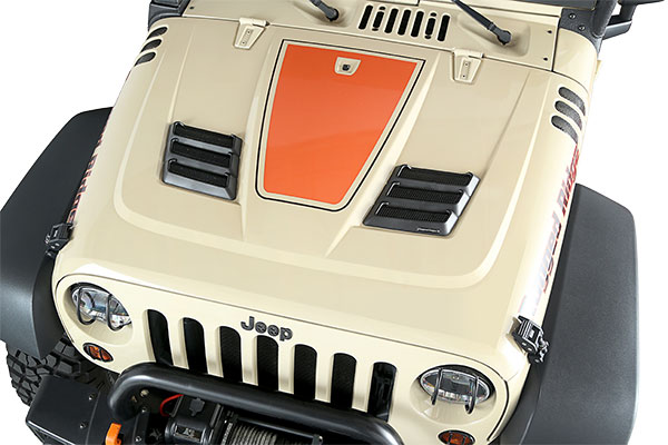 rugged ridge performance hood vents installed