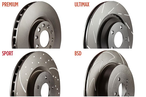 ebc brake rotor comparison showing premium, ultimax, sport and bsd