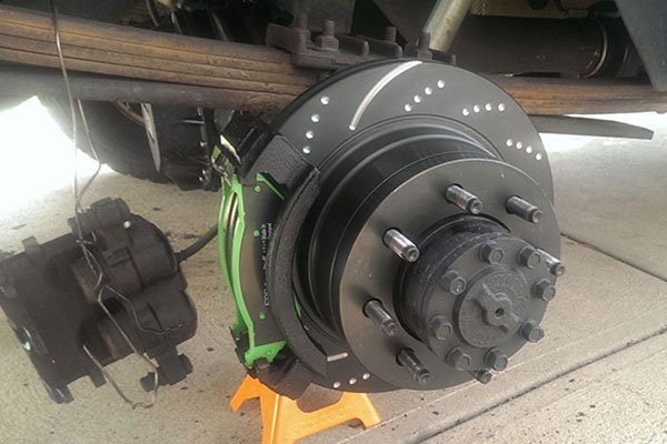 ebc sport rotors installed with green stuff pads