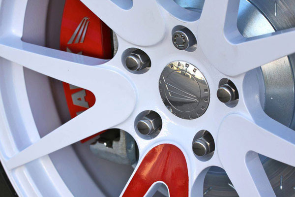 hawk black brake pads installed close up