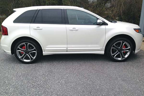 Red Mgp Caliper Covers Installed On  Ford Edge Customer Submitted Image