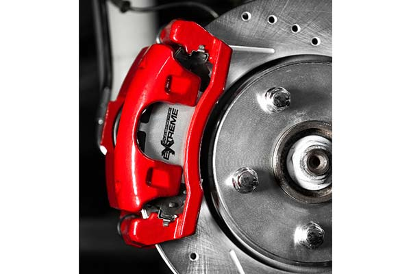 power stop z36 brake kit installed behind red caliper