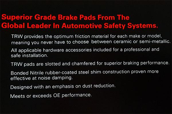 trw premium brake pads text