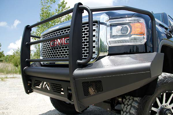fab fours black steel elite front bumper detail