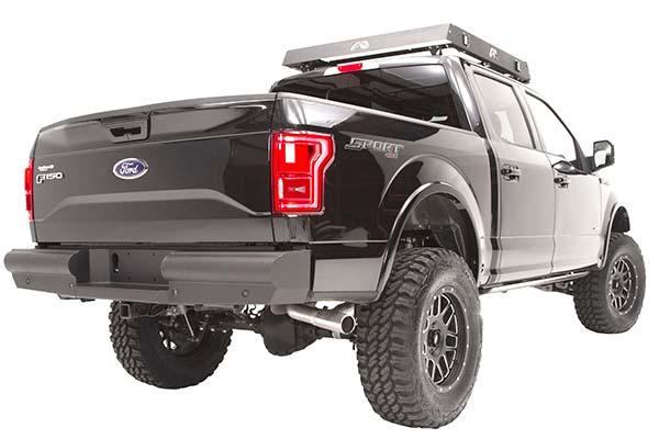 fab fours black steel elite rear bumper installed2