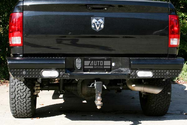 fab fours black steel rear bumper installed